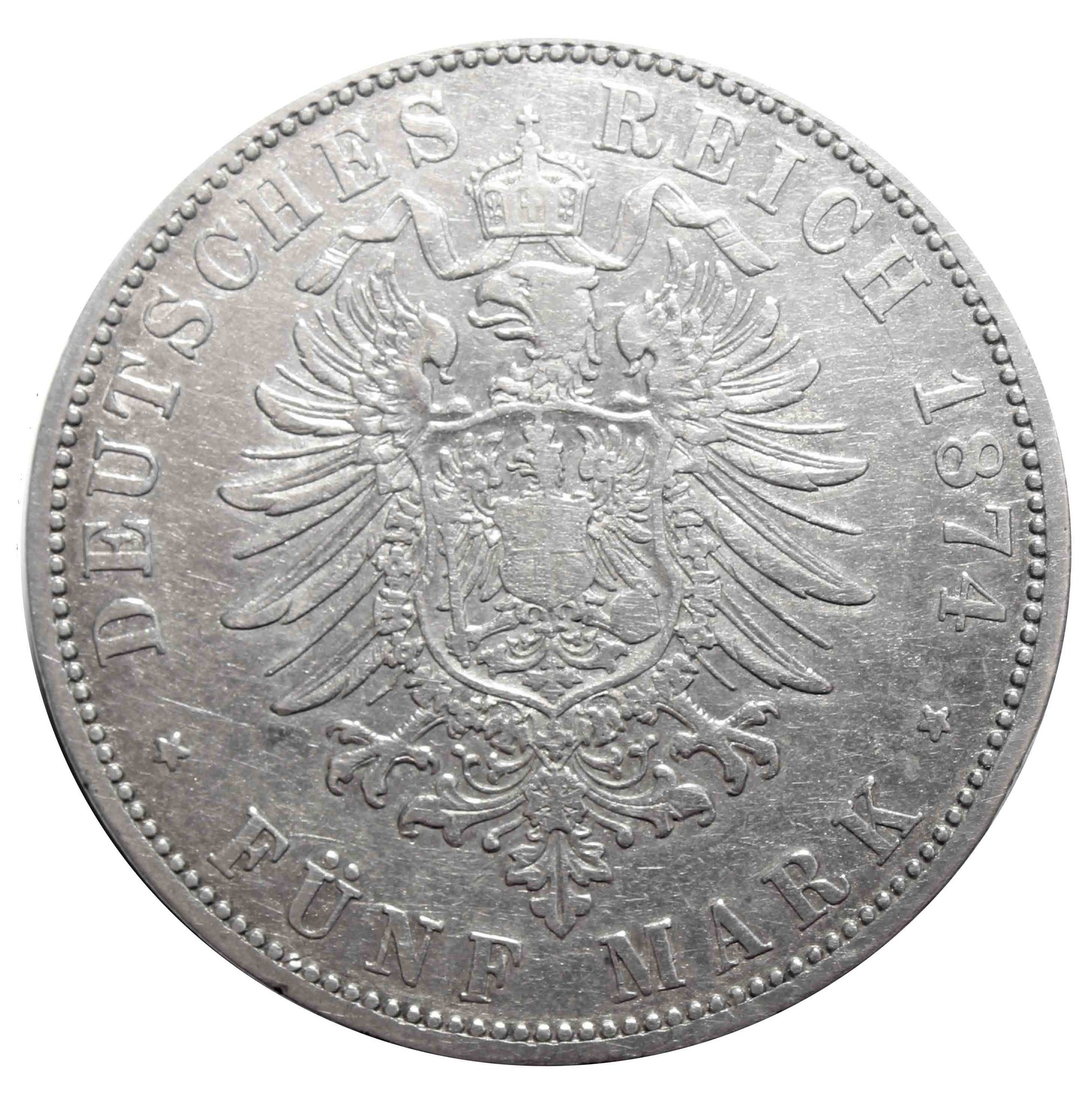 5 марок 1874 год (A) Германия-Пруссия VF