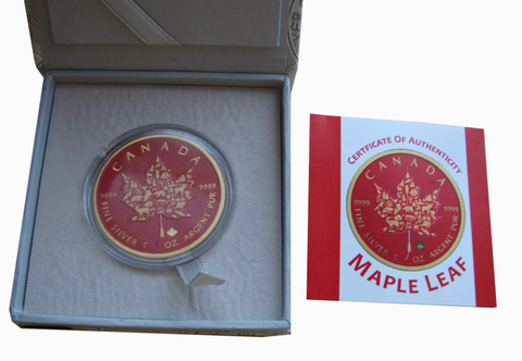 5 долларов 2017 год. Канада. Кленовый лист. Цветная. Серебро с позолотой