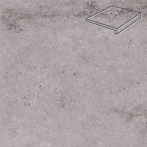 Stroeher - Gravel Blend 962 grey 294x175x52x10 артикул 4817 - Клинкерная ступень, прямой угол