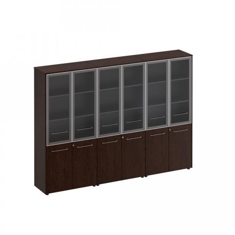 Шкаф для документов со стеклянными дверьми (стенка из 3 шкафов) (274x46x196)