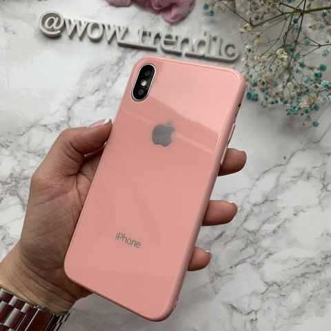 Чехол iPhone XS MAX Glass Full color Case Logo /pink/