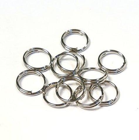 Кольцо двойное 10 мм цвет платина цена за 10 шт