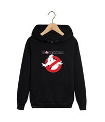Толстовка черная с капюшоном (худи, кенгуру) и принтом Охотники за привидениями (Ghostbusters) 0013