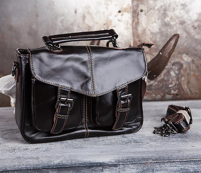 BAG435-2 Вместительная мужская сумка портфель из натуральной кожи
