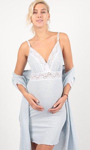 Евромама. Комплект халат и сорочка с кружевом, меланж голубой вид 1