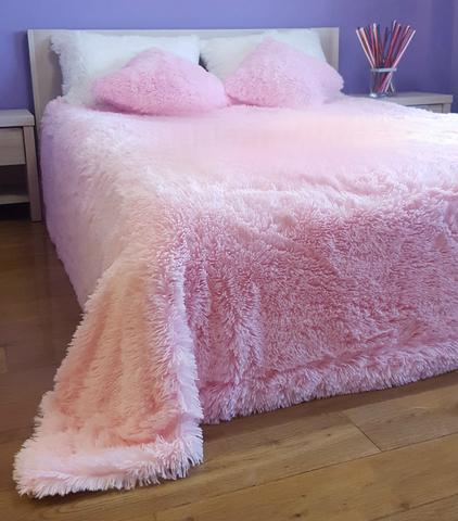 Плед с длинным ворсом, розовый