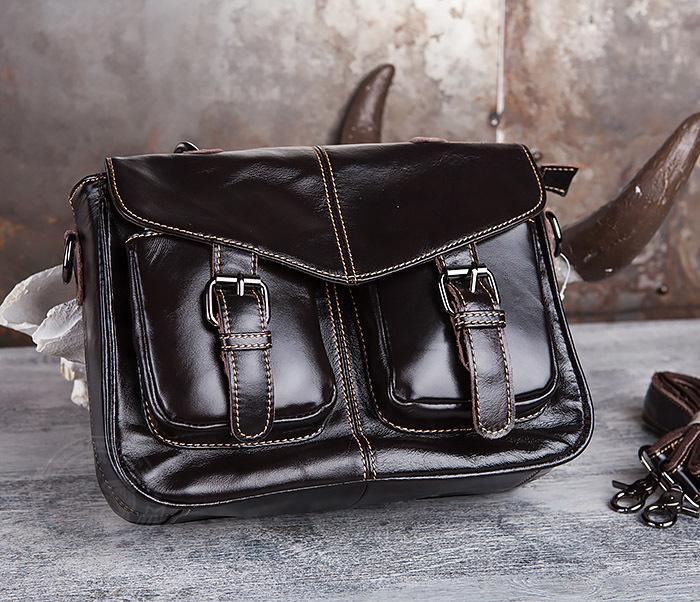 BAG435-2 Вместительная мужская сумка портфель из натуральной кожи фото 02