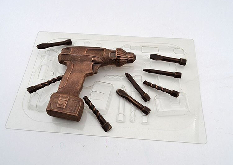 Пластиковая форма для шоколада бол. ШУРУПОВЕРТ 3D (размер 125х125мм.)