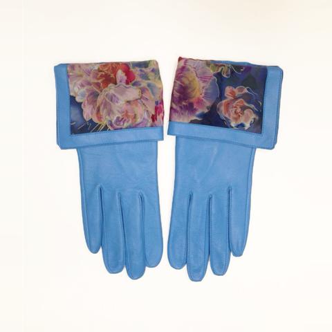 Кожаные перчатки Пионы