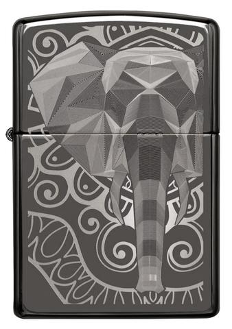 Зажигалка Zippo Elephant Fancy Fill Design с покрытием Black Ice, латунь/сталь, чёрная, глянцевая123