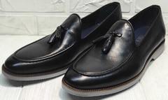 Мужские туфли классика лоферы под костюм Luciano Bellini 91178-E-212 Black.