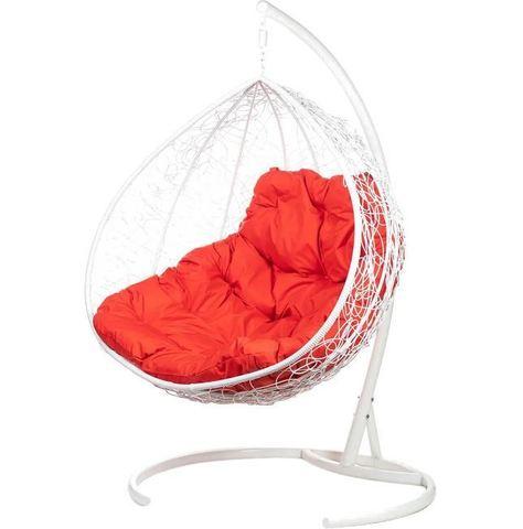 Двойное подвесное кресло Liverpool Twin White красная подушка