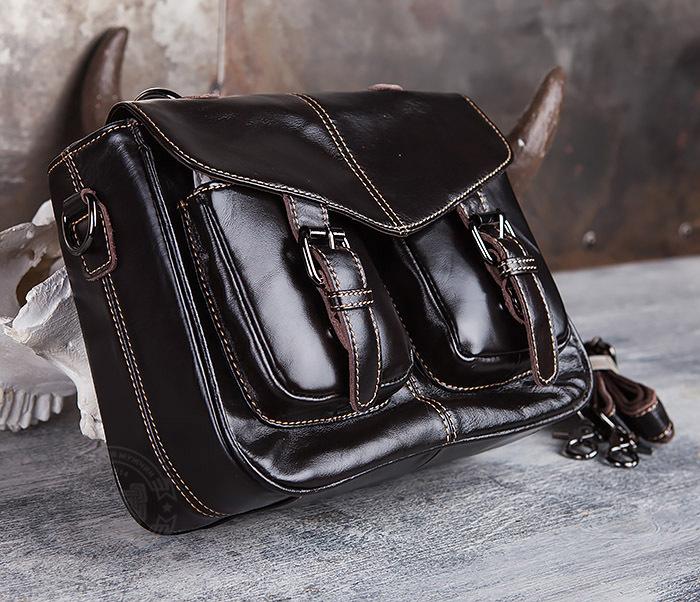 BAG435-2 Вместительная мужская сумка портфель из натуральной кожи фото 03