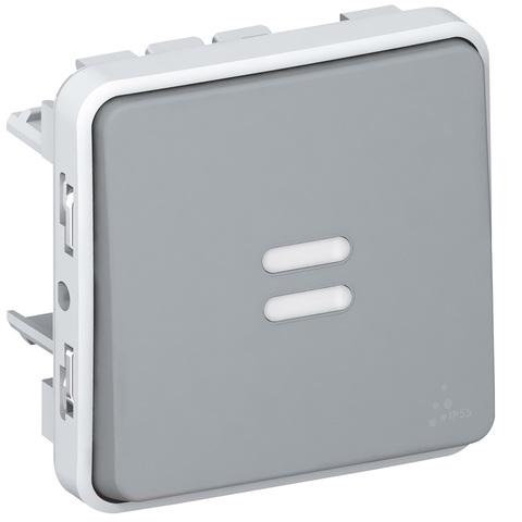 Выключатель одноклавишный проходной с подсветкой Однополюсный переключатель на два направления с подсветкой в комплекте с лампой - 10 AX - 250 В~. Цвет Cерый. Legrand Plexo (Легранд Плексо). 069513