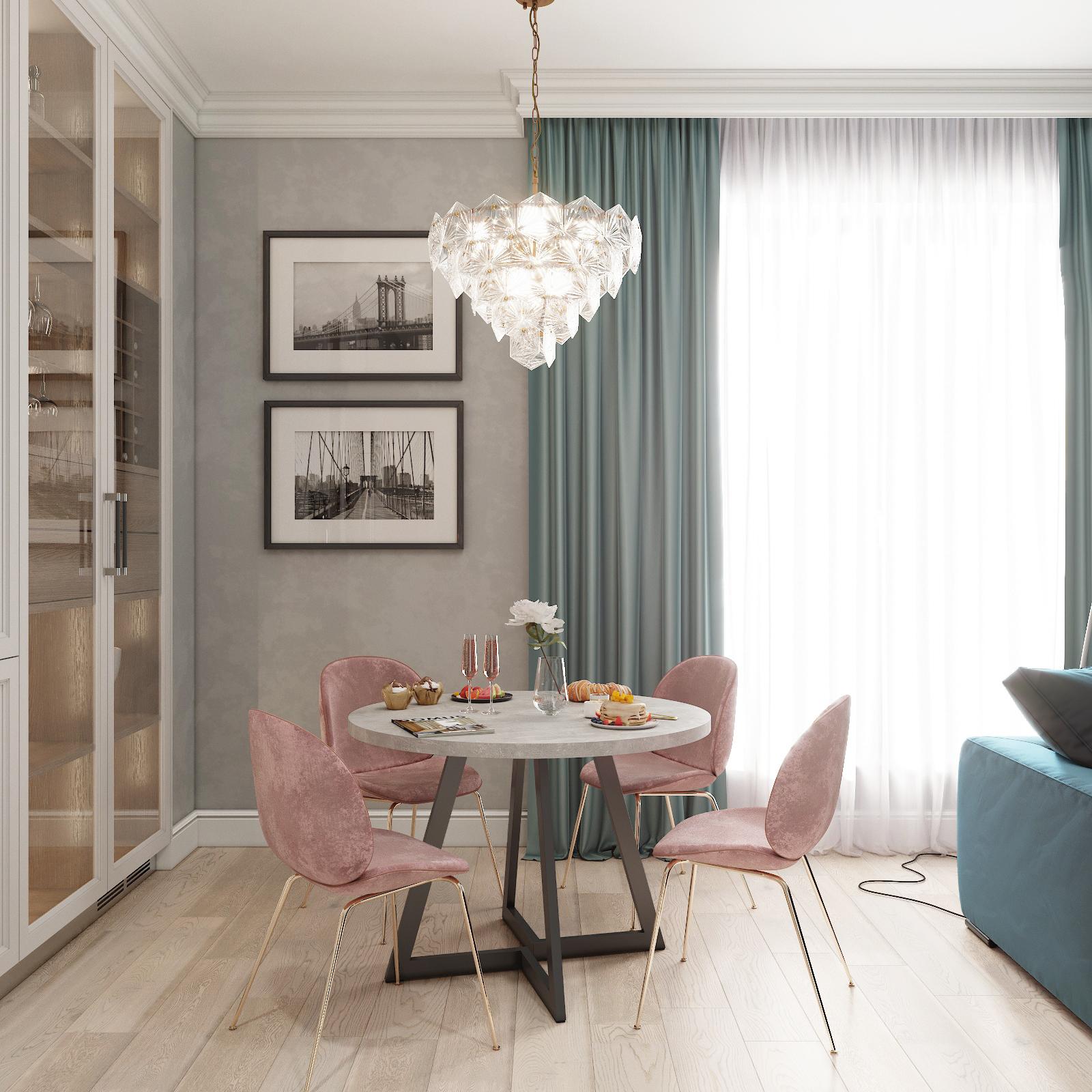 Обеденный стол ДОМУС Диннер-1 бетон серый/металл черный