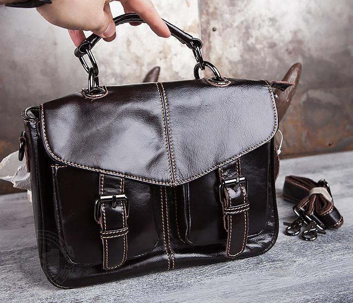 BAG435-2 Вместительная мужская сумка портфель из натуральной кожи фото 04