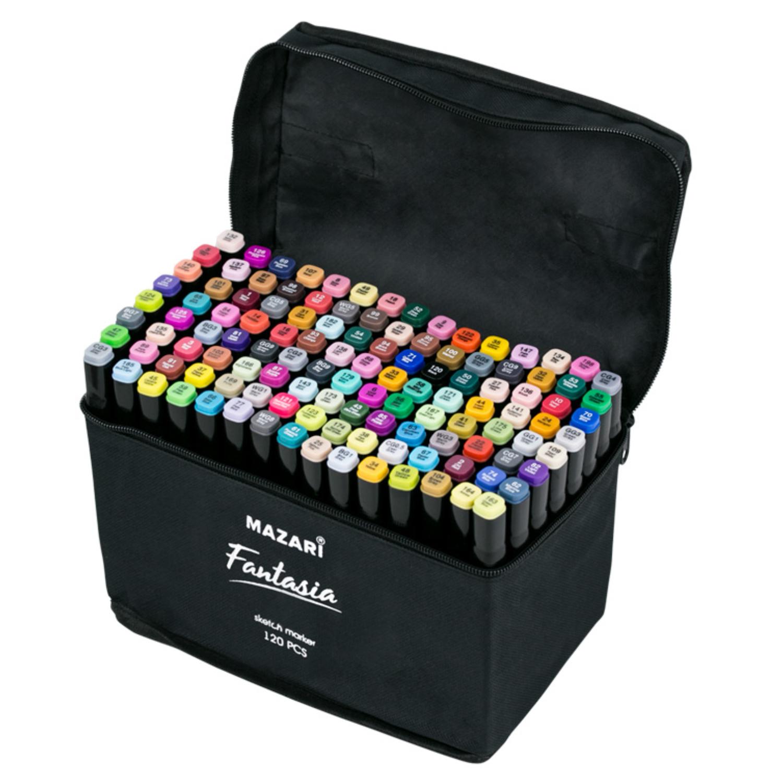 Mazari Fantasia набор маркеров для скетчинга 120 шт в сумке пенале - двусторонние спиртовые пуля/долото 3.0-6.2 мм