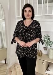 Ріма. Вільна жіноча блуза з зав'язками. Чорні квіти