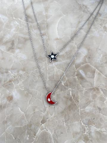 Колье Эфеса из серебра с черной звездой и красным месяцем