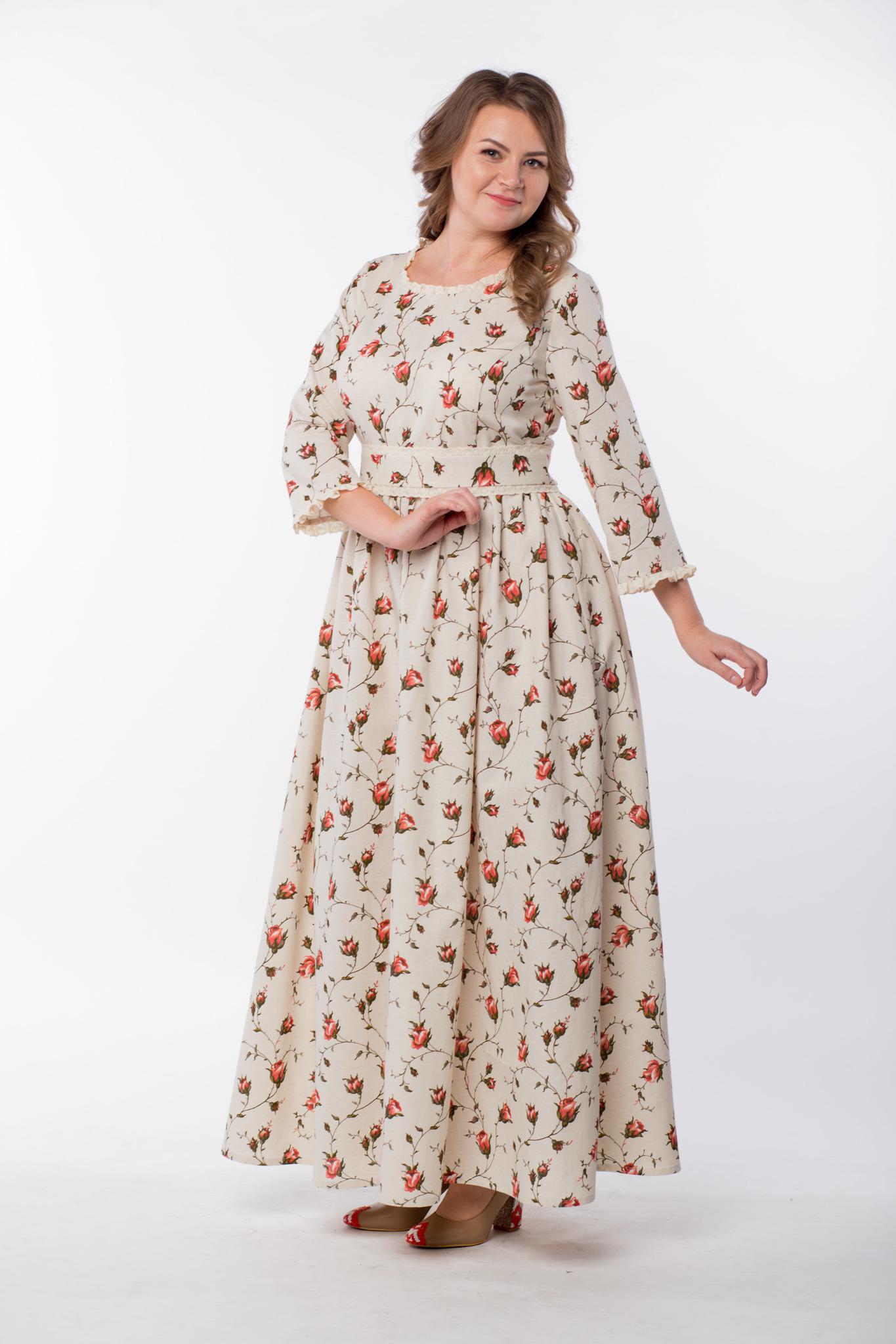 Платье льняное Сударыня вид сбоку