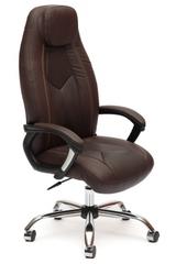 Кресло компьютерное Босс (Boss) хром — кож/зам (коричневый/коричневый перфорированный (2 TONE/2 TONE /06)