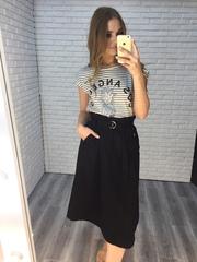 юбка с ремнем на талии черная купить