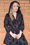 Черный короткий халат с капюшоном Luna di Giorno