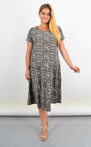 Твіст. Сукня з v-подібним вирізом для повних. Лео сірий.