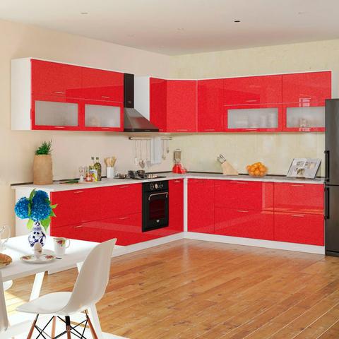Кухня Техно красная угловая 3,2-2,6 м