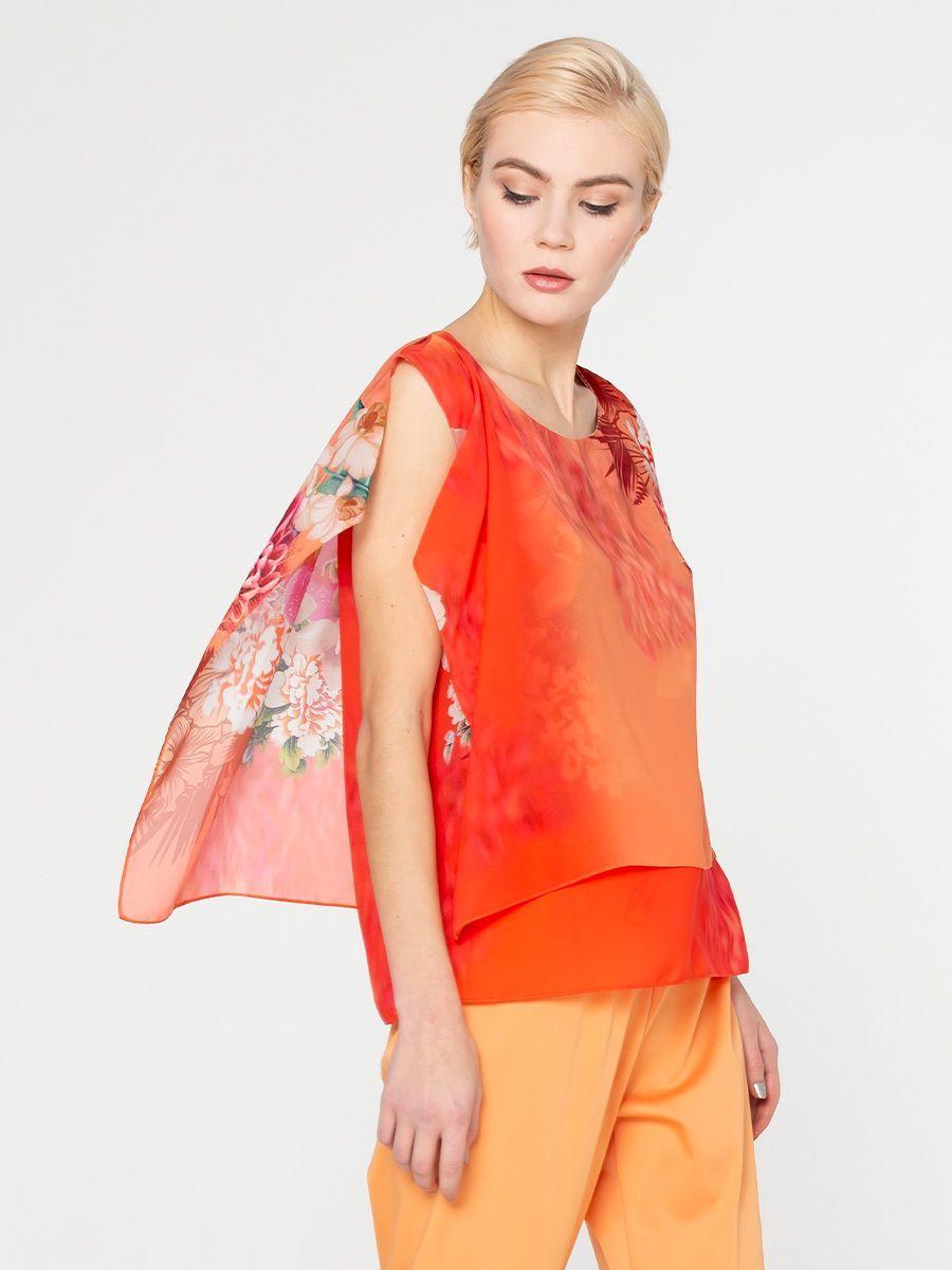 Блуза Г561-100 - Многослойная блуза ультрамодного оранжевого цвета - для тех, кто хочет выглядеть ярко и комфортно! Верхний полупрозрачный топ скрывает несовершенства в области талии и акцентирует бедра.Создайте эффект модного кроп-топа - заправьте внутренний слой блузы в юбку или брюки и блуза заиграет по-новому!