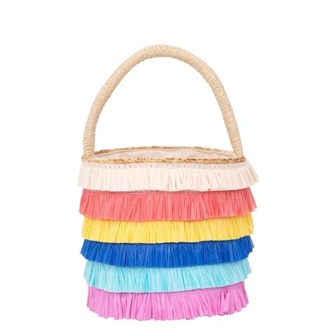 Плетеная сумка рафия с бахромой