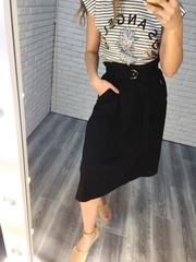 юбка с ремнем на талии черная недорого