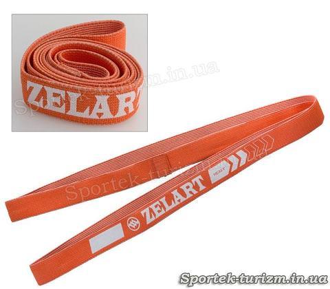 Фітнес-гумка тканинна стрічка опору Zelart (жорсткість l, помаранчева)