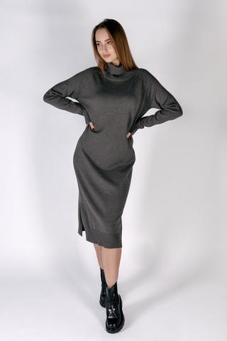 Платье вязаное серое с воротником купить