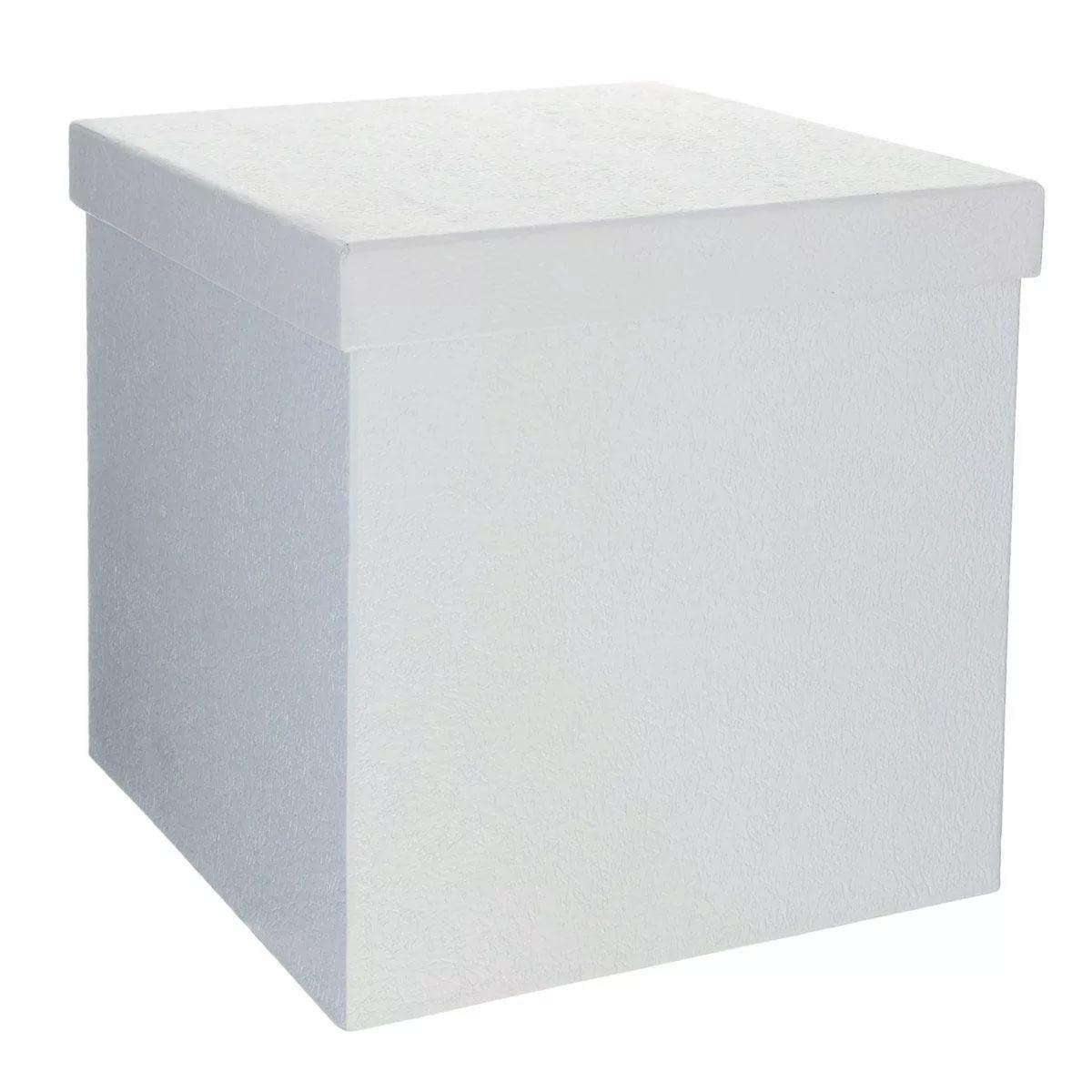 Коробка сюрприз белая с надписью и бантом
