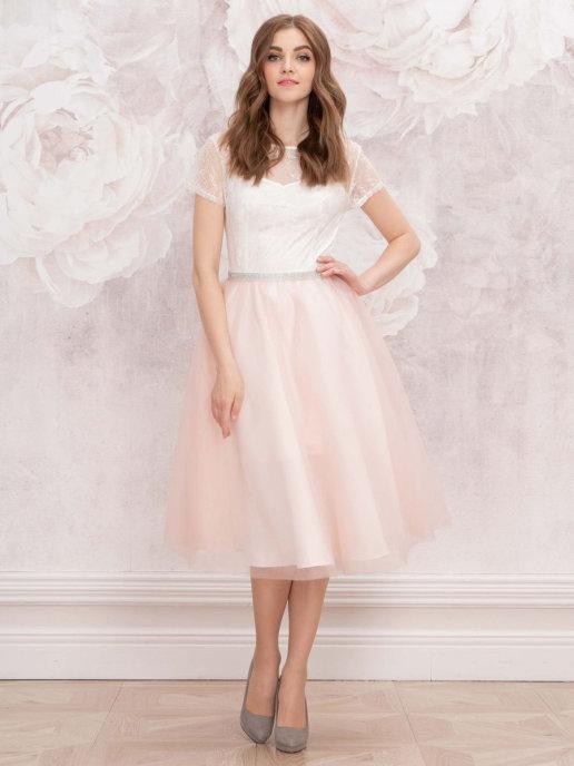 Свадебное кружевное платье с короткими рукавами миди (молочный-розовый)