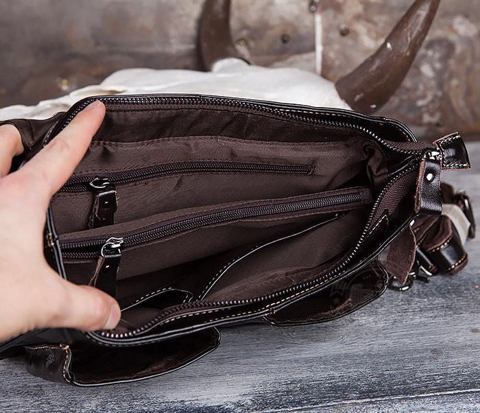 BAG435-2 Вместительная мужская сумка портфель из натуральной кожи фото 07