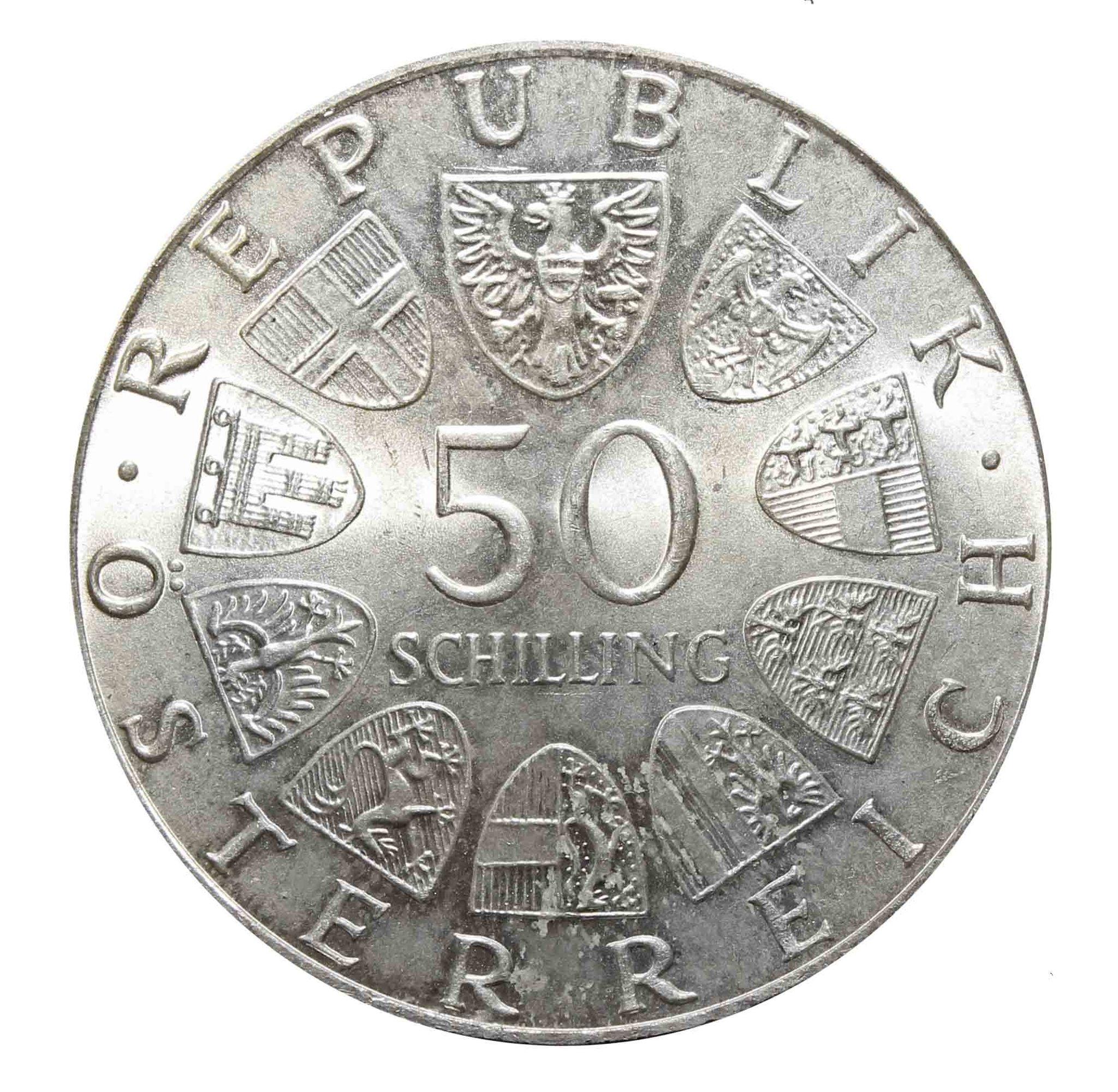 50 шиллингов. 50 лет Австрийскому радио. Австрия. 1974 год. Серебро. AU