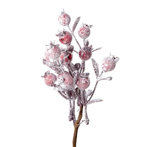Ветка с ягодами заснеженная, 22 см, красный