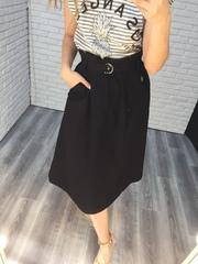 юбка с ремнем на талии черная nadya