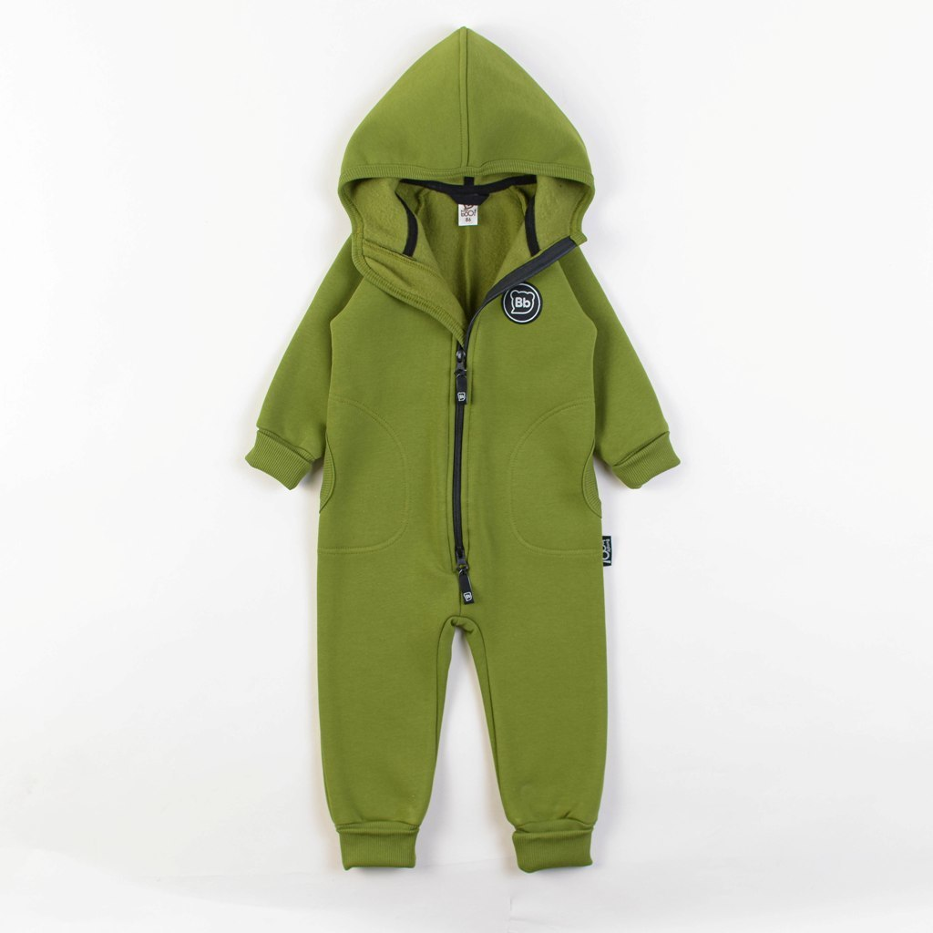 Warm hooded jumpsuit with side pockets - Bamboo