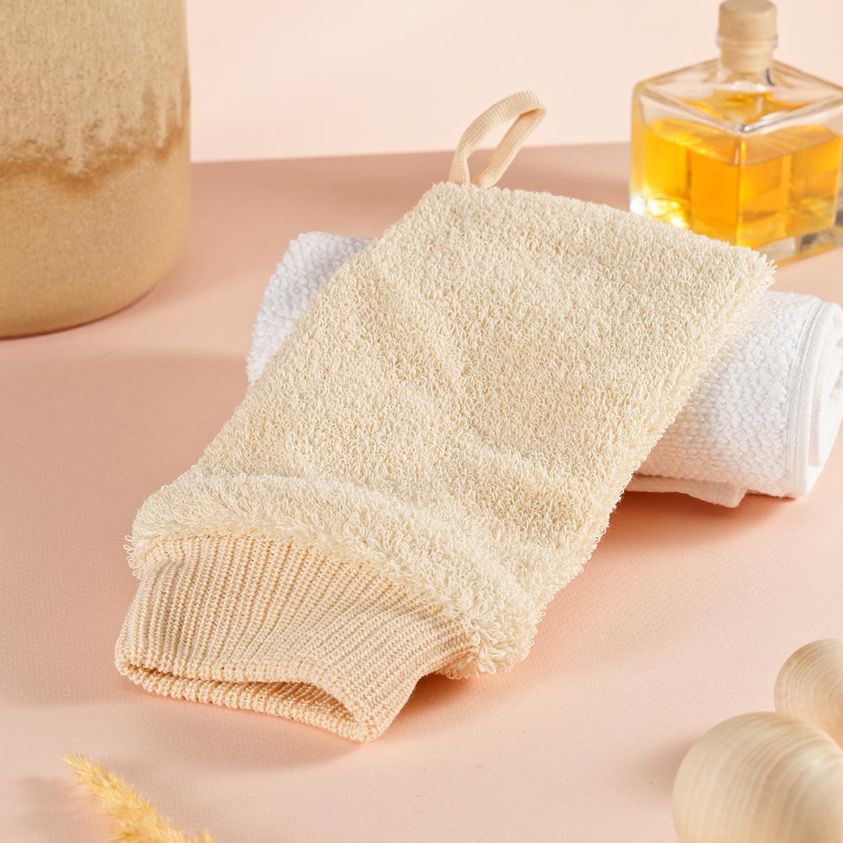 Мочалка-рукавица массажная натуральная для взрослых и детей (хлопок, мягкая)
