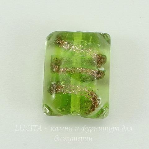 "Бусина Лэмпворк ""подушка"" зеленая 20-21х15-16х9 мм ()"