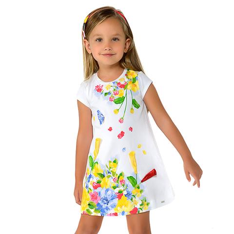 Платье Mayoral Белое с цветами