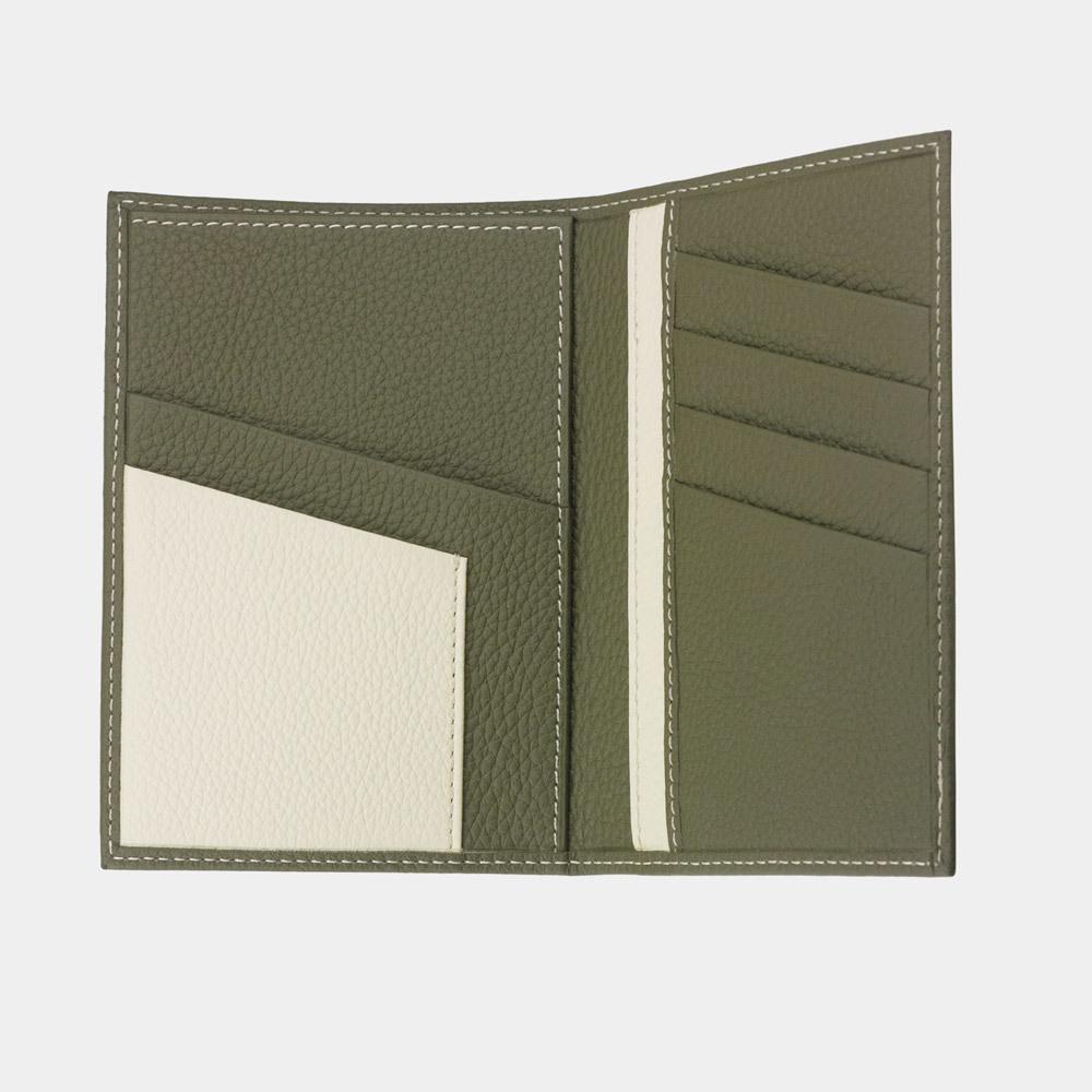 Обложка на паспорт и для автодокументов Paris Bicolor из натуральной кожи теленка, зеленого цвета