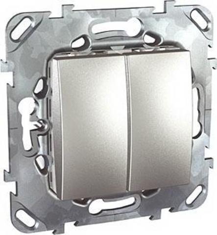 Выключатель двухклавишный. Цвет Алюминий. Schneider electric Unica Top. MGU5.211.30ZD