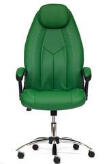 Кресло компьютерное Босс (Boss) хром — кож/зам (зеленый/зеленый перфорированный (36-001/36-001/06)