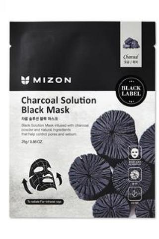 MIZON Маска для лица c древесным углем Charcoal Solution Black Mask