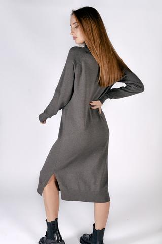 Платье вязаное серое с воротником интернет магазин