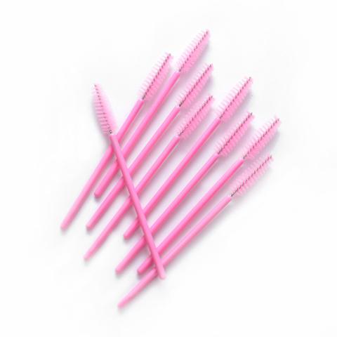 Щеточка для ресниц розовая 1уп - 10шт